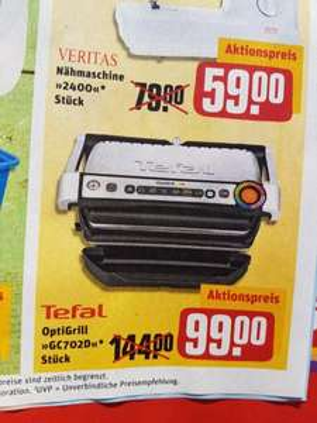 Tefal OptiGrill GC702D für 99 Euro bei rewe