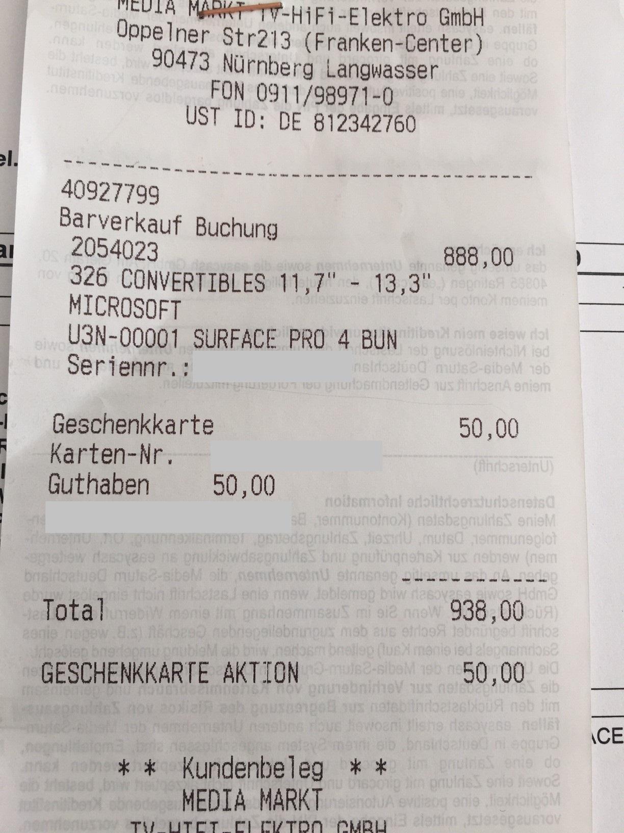 [Mediamarkt Nürnberg/Langwasser Lokal] Microsoft Surface 4 Pro Bundle mit Type Cover und 50 EUR Mediamarkt Gutschein