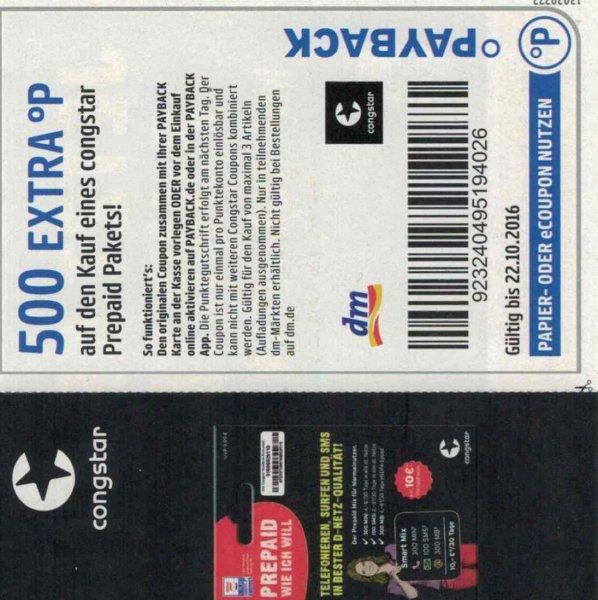 [Payback] DM eCoupon für Congstar Prepaid Karten PSN tauglich (500 Punkte)