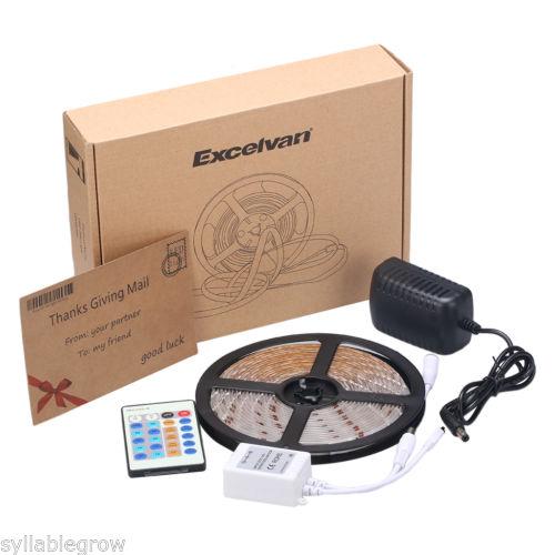 5M-300 LED-Strip-Leiste Lichtband 24key Remote Control mit Netzteil (weiß)