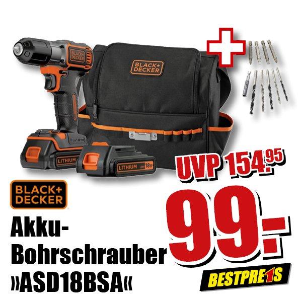 Akku-Bohrschrauber von Black + Decker ASD18BSA inkl. 2. Akku + Bohrerset + Tasche
