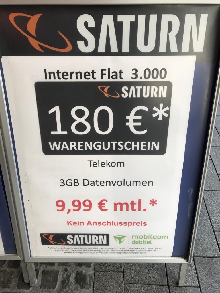 [LOKAL Saturn Chemnitz] mobilcom-debitel Internet-Flat 3.000 (LTE 50 MBits/Sek.) im Telekom-Netz für effektiv 2,49€ / Monat durch 180 EUR Saturn Gutschein