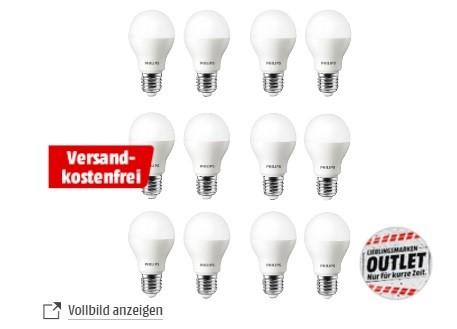 12x Philips E27 LED (470lm, 2700K) oder 12x Philips GU10 LED (350lm, 2700K) für je 29,99€ versandkostenfrei [Mediamarkt]