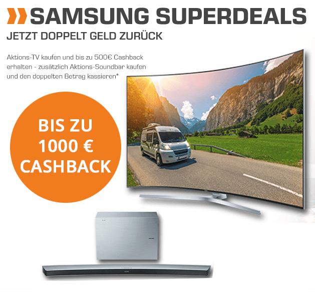 Samsung Superdeals  Aktions-TV + Aktions-Soundbar ?: BIS ZU 1000,- € Cashback