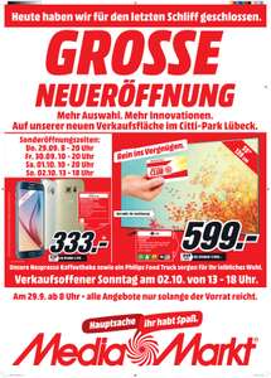"""[lokal Mediamarkt Lübeck] Neueröffnung mit ein paar guten Angeboten (z.B. Pioneer VSX 531 für 199, Warcraft Film für 10, LG 55"""" UHD für 599, etc.)"""