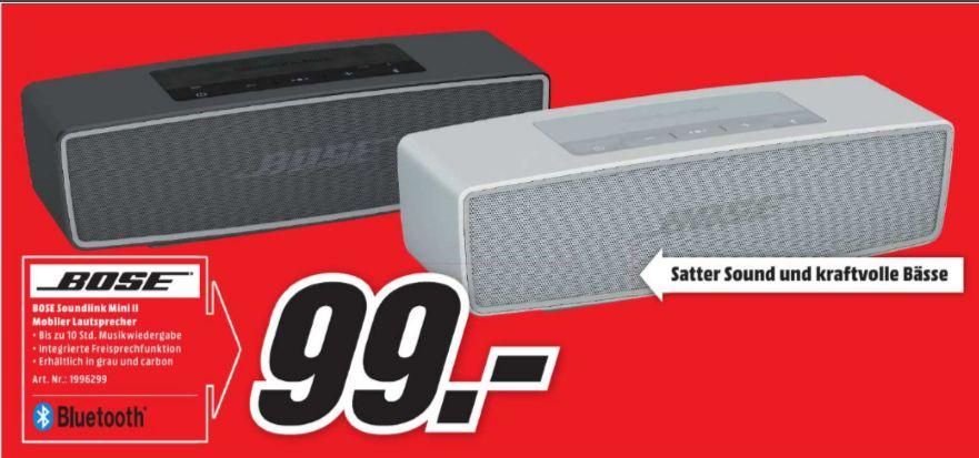 [Lokal Mediamarkt Ravensburg ab 28.09/19.00 Uhr] Bose SoundLink Mini II - Multimedia-Lautsprecher beide Farben für je 99,-€