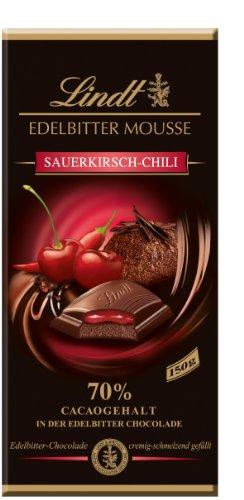 [Amazon Prime] 1,95 Kilogramm Lindt & Sprüngli Edelbitter Mousse Sauerkirsch Chilli, 13er Pack (13 x 150 g) für 9,62€