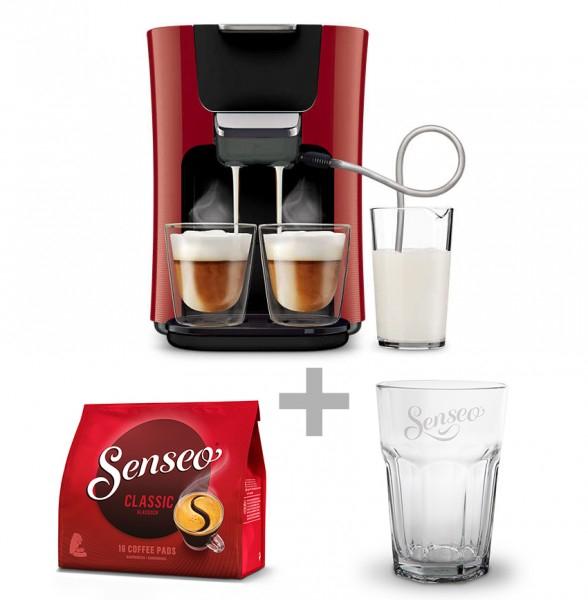 Philips Senseo HD7855/80 Latte Duo Kaffeepadmaschine + 16 Pads + Latte Macchiato Glas