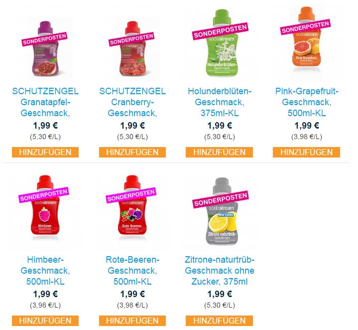 sodastream diverse Geschmacksrichtungen für 1,99€ (Sonderposten)