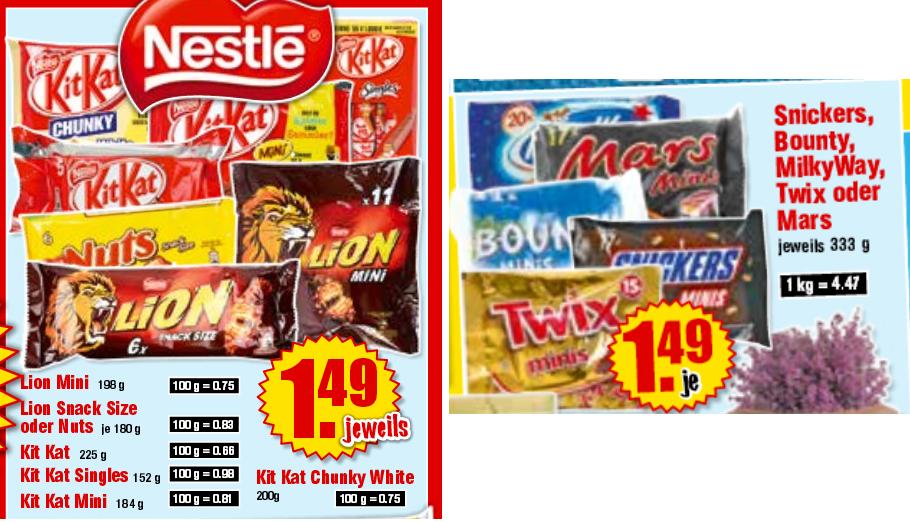 [Krümet - Norddeutschland] Lion, Kit Kat, Snickers,  Bounty,  MilkyWay,  Twix oder Mars je 1,49€