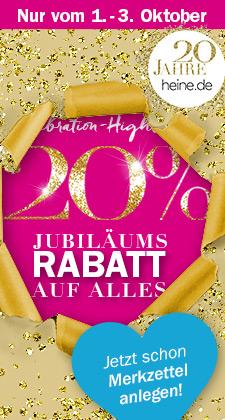 Heine 20% Jubiläumsrabatt auf Alles vom 1. - 3. Oktober
