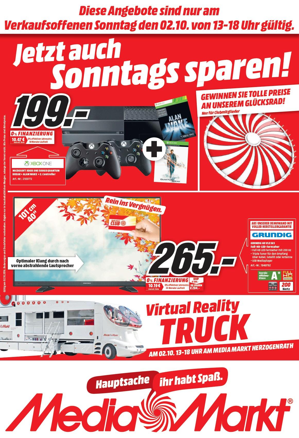 Lokal Media Markt Herzogenrath Diverse Angebote z.B. X-Box One 500GB + Alan Wake + Quantum Break + 2. Controller 199€