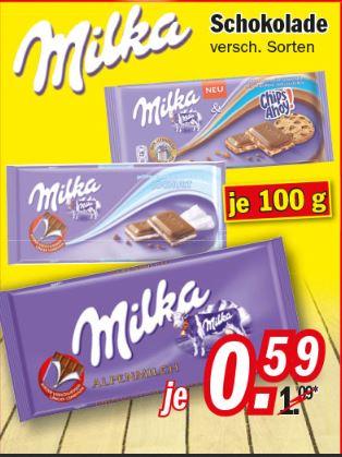 Zimmermann Milka Schokolade 100 g Tafel zum Bestpreis 0,59 € ab 04.10.2016