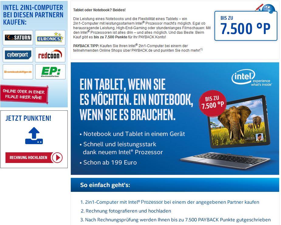 bis zu 7500 zusätzliche Payback-Punkte (=75 EUR) beim Kauf eines 2in1-Computers mit Intel Prozessor