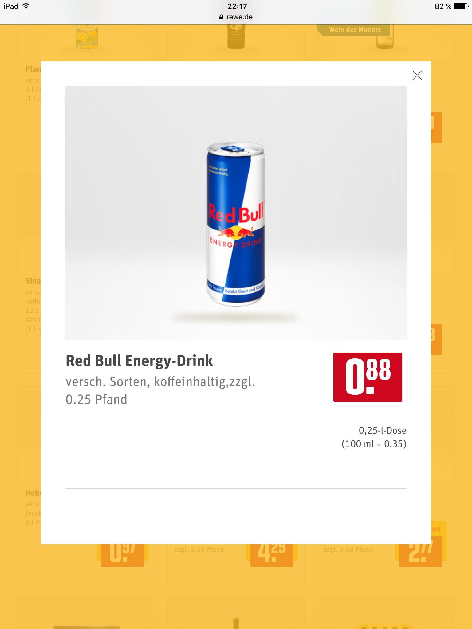REWE Red Bull Angebot für 88 Cent zzgl. Pfand
