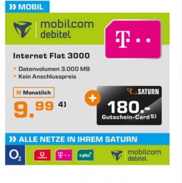 Internet Flat 3GB Daten Telekom eff. 2,49 im Monat (Saturn Bochum)