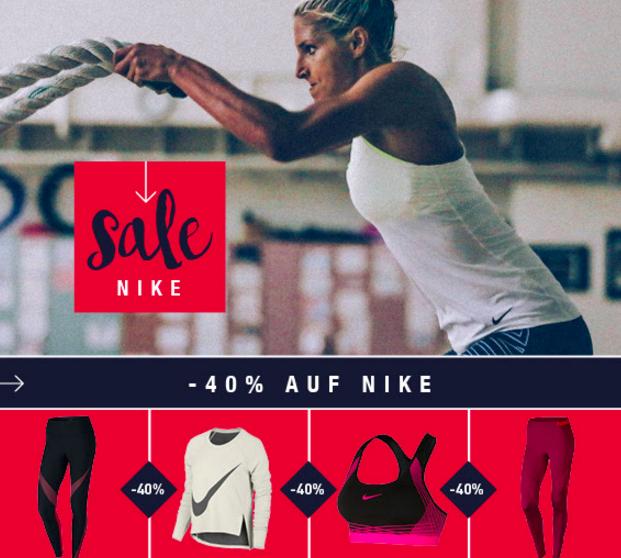 40% Rabatt auf alle Nike-Artikel +  5€ Rabatt ab 30€ bei [my-sportswear]