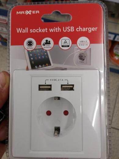 Schuko Steckdose mit 2 x USB [Action]