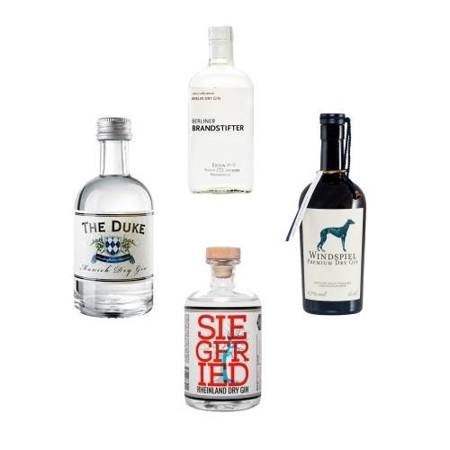 DElinero.de 4 Gins aus Deutschland für mit Gutschein (Spirits100) 78,74 € im Set (Siegfried Gin, Windspiel, Berliner Brandstifter u. The Duke (Bio) - im Durchschnitt 19,69 €
