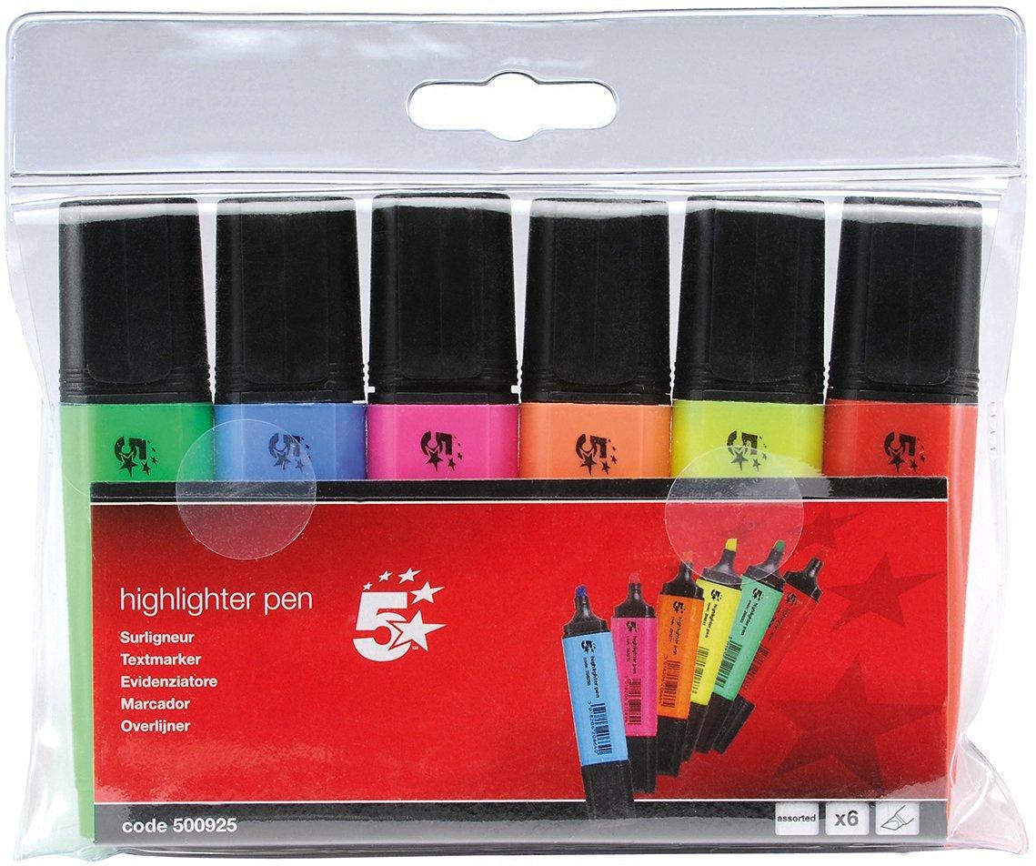 Wieder verfügbar! 5 Star Textmarker Keilspitze 1-4 mm Strichbreite 6er Pack farblich sortiert (Mydealz-Bestpreis) [Amazon Prime]