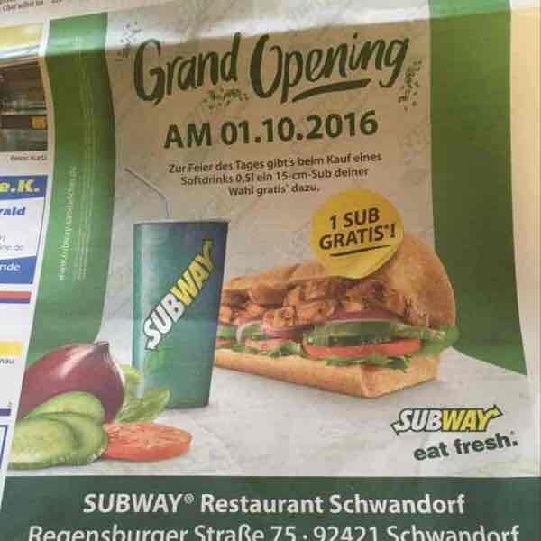 15-cm-Sub gratis beim Kauf eines Softdrinks - Subway Schwandorf (Lokal)