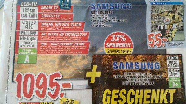 Lokal Deizisau b. Stuttgart LED-TV UE49KU6679 inkl Samsung 40''TV für 1095