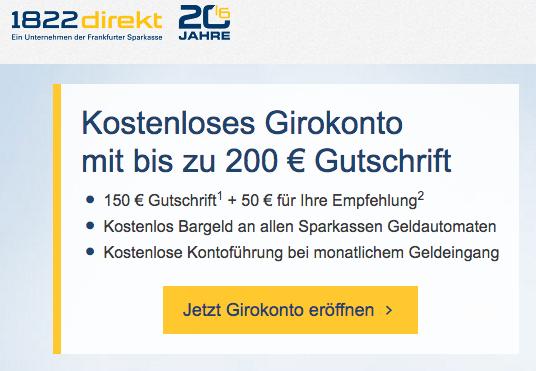 1822 direkt: Kostenloses Giro-Konto für Neukunden bis 31.10. mit erhöhter Prämie von bis zu 200 Euro (bei Geldeingang von mind. 0,01 EUR/Monat)