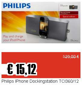 15,12€ für die Philips iPhone Dockingstation TCI360/12 für alte iPod Touch, alte iPhones und den Chromecast Audio