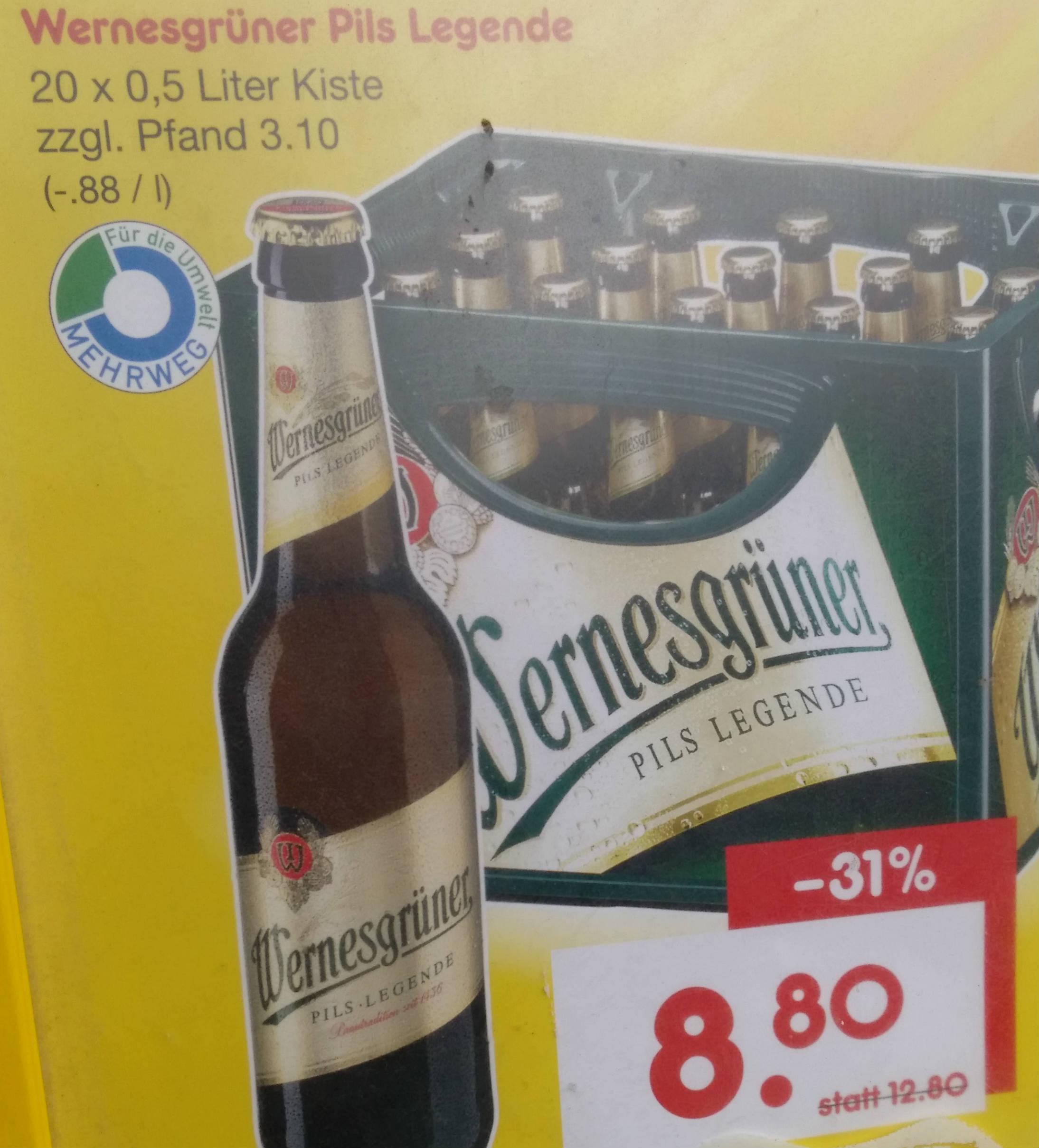 """[Netto MD, offline, Berlin] Wernesgrüner Bier -,44 je 0,5-Liter-Flasche zum """"Supersamstag"""" - evtl. auch Berliner Kindl"""