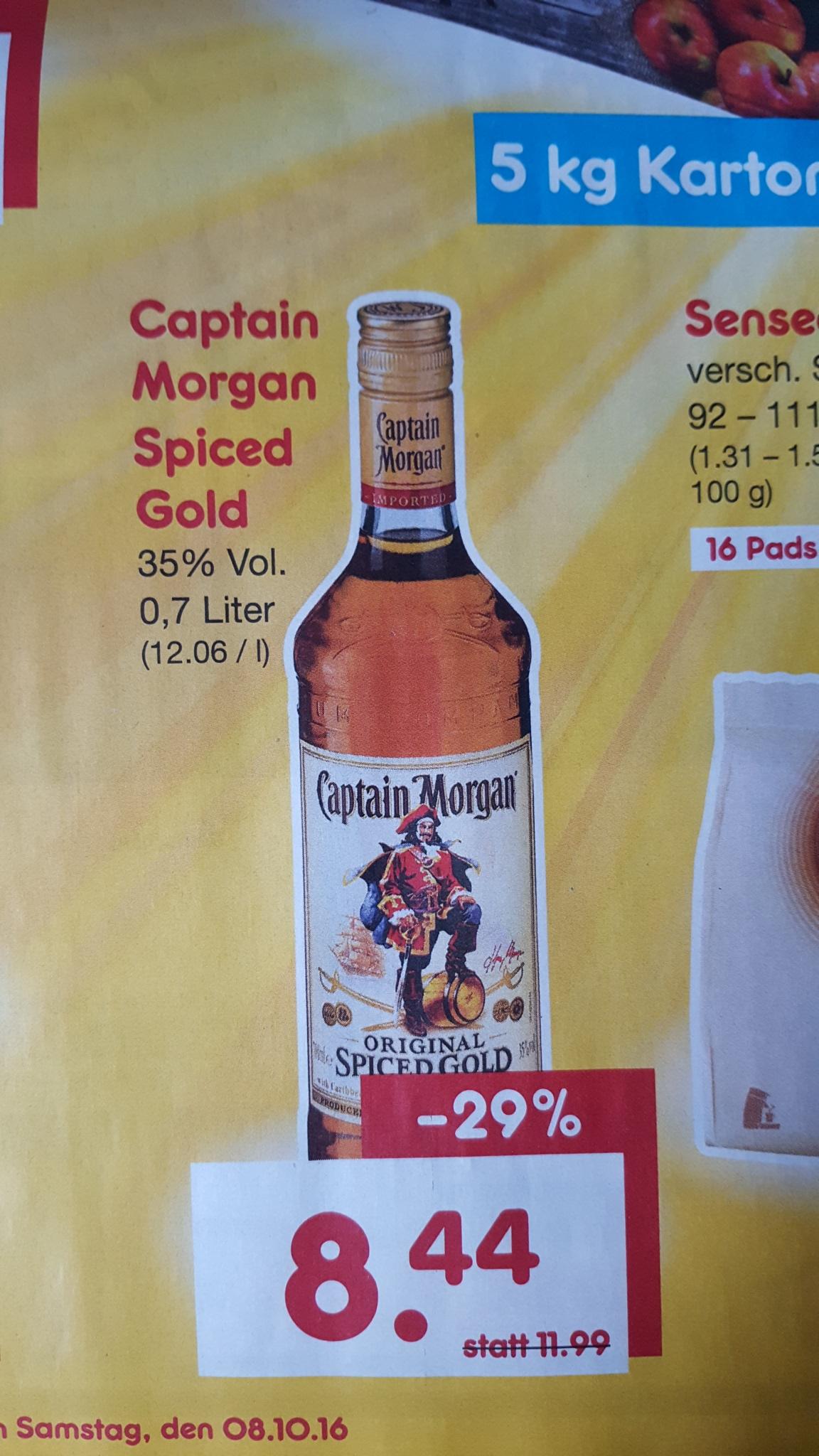 Netto Marken-Discount nur am 08.10.2016: Captain Morgan Spiced Gold (0,7L) für 8,44 Euro