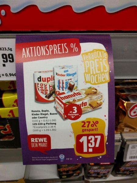 [REWE FRANKFURT] ab 3 packungen nur je 1,37€ (Duplo, Bueno, Hanuta, Kinder Riegel oder Kinder Country)