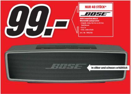 [Lokal Mediamarkt Neunkirchen] Nur am 02.10 erhältlich.Stückzahl 40-Bose SoundLink Mini II - Multimedia-Lautsprecher beide Farben für je 99,-€