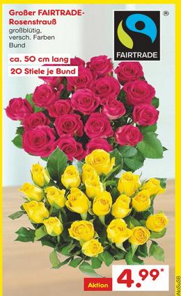 Netto MD 20 langstielige (50cm) Fairtrade  Rosen für 4,99€