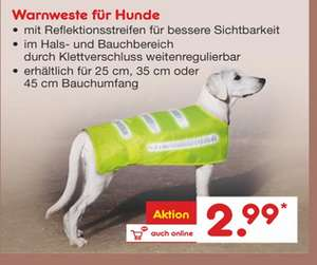 Netto MD Warnweste für Hunde (Gr. L, M, S)
