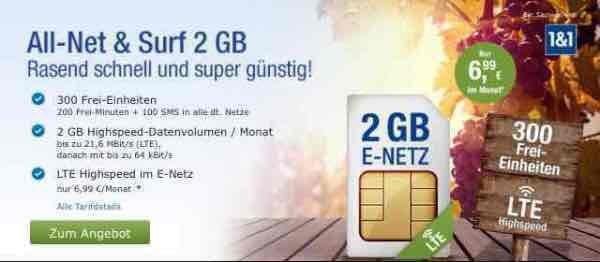 Gmx-Mobilfunk: 200 Minuten, 100 SMS, 2GB LTE,  5,73 Euro,(Wechselbonus + 30 Euro Startguthaben