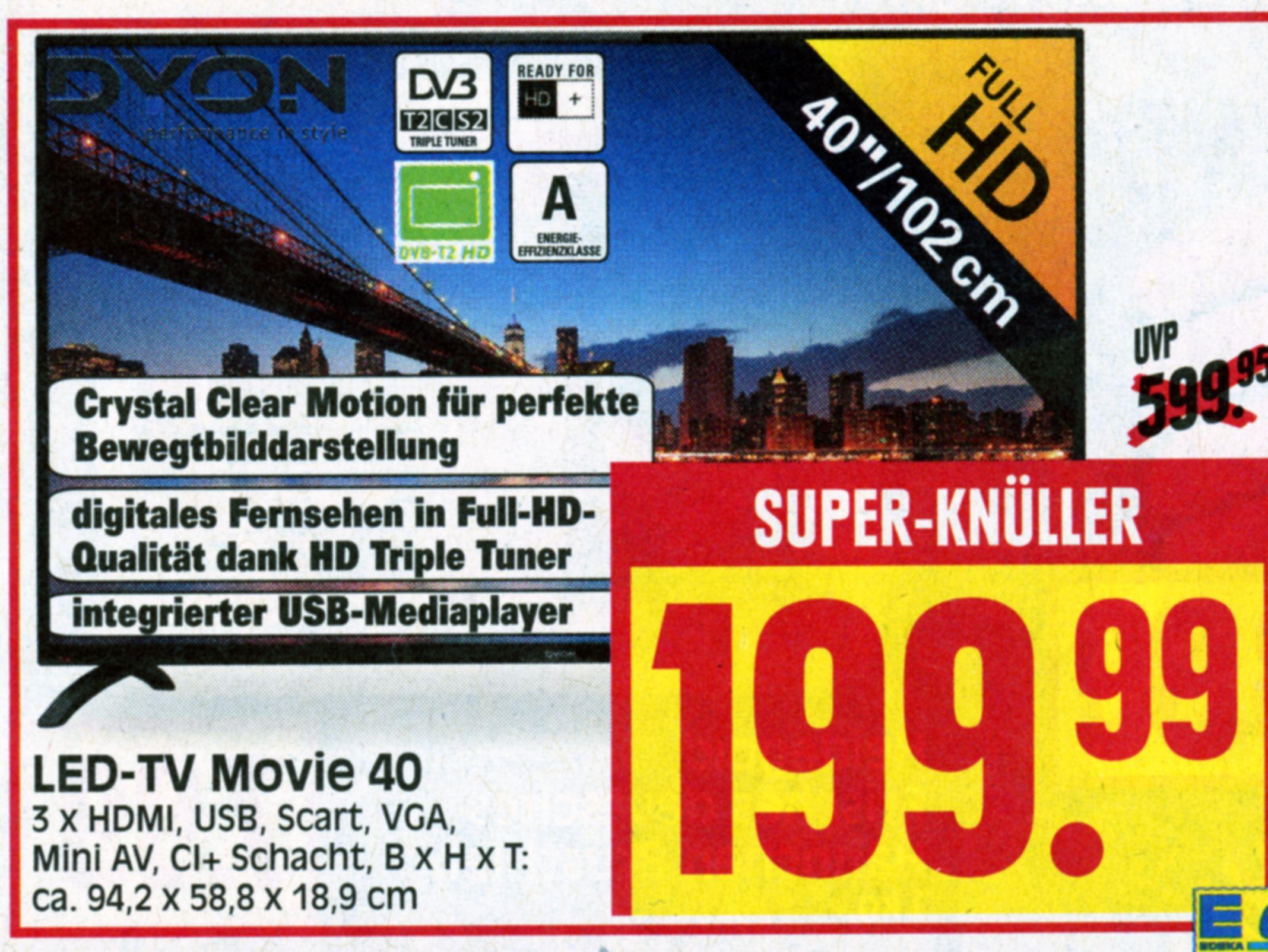 """40 """" Full HD LED Fernseher von Dyon mit Triple Tuner bei Herkulesmarkt"""
