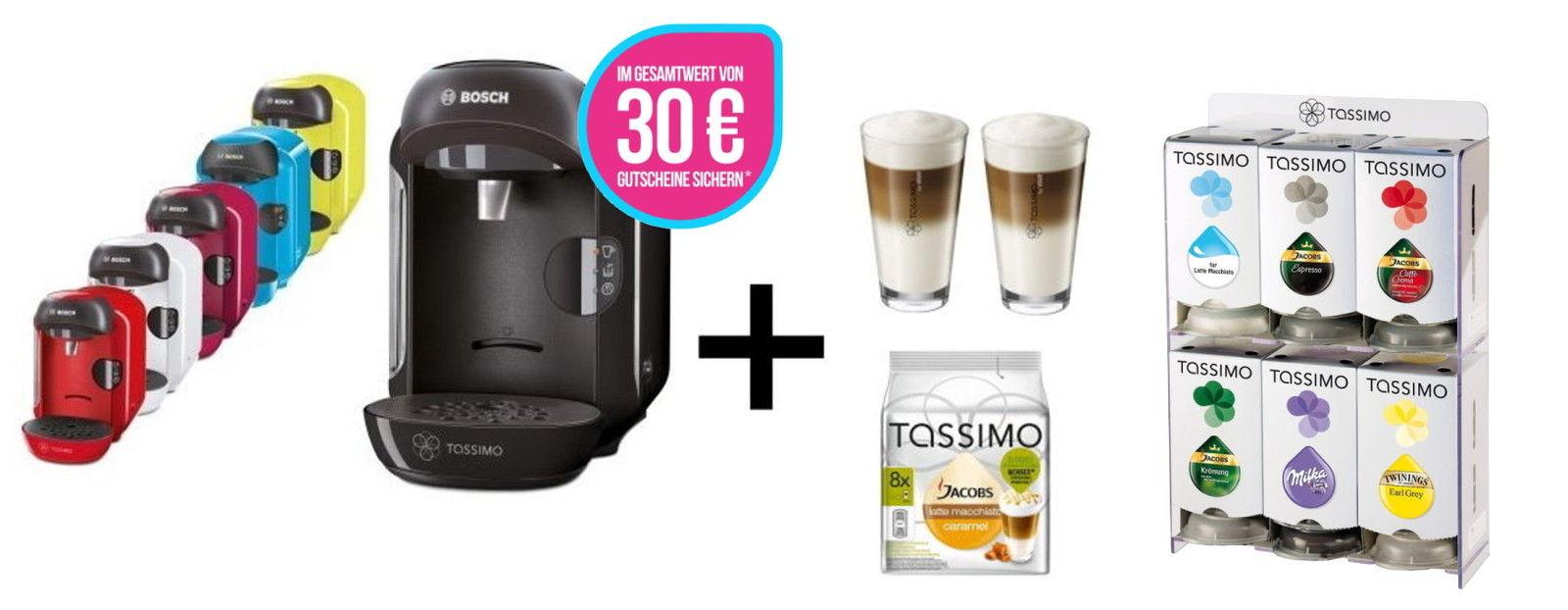 Bosch TASSIMO VIVY + 30 EUR Gutscheine* + T Discs + WMF Gläser Set + Spender