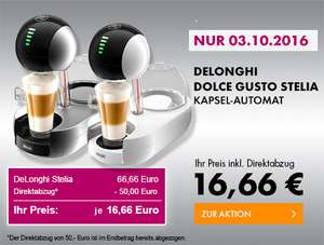 DeLonghi EDG 635.W Dolce Gusto Stelia Kapsel-Automat weiß oder silber für 16,66€ [Euronics]