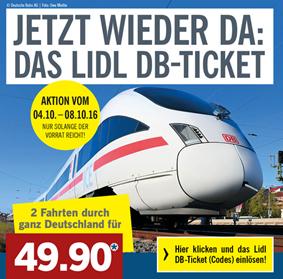 [Lidl] 2 Bahn-Fahrten mit der Deutschen Bahn (2. Klasse) quer durch ganz Deutschland für 49,90€