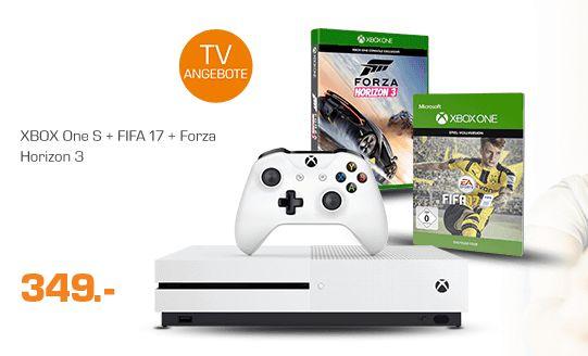 MICROSOFT Xbox One S 1TB Konsole + FIFA 17 + Forza Horizon 3 für 349,-€ Jetzt Versandkostenfrei[Saturn]