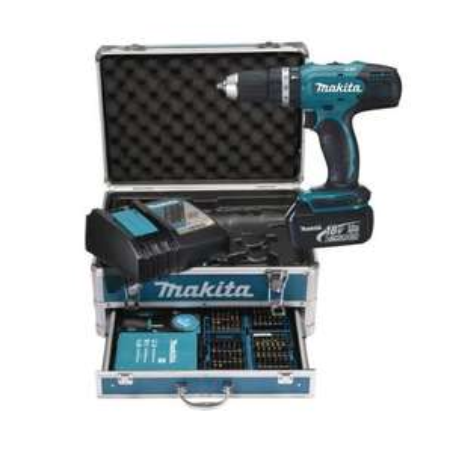 Makita Akku-Schlagbohrschrauber DHP453RFX2 inkl. Alu-Koffer und 96-tlg. Zubehör