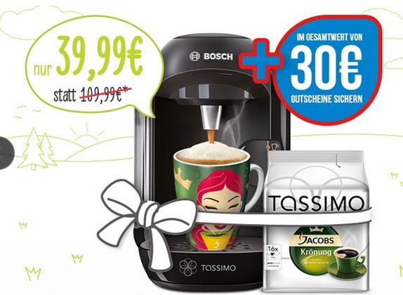 TASSIMO VIVY inkl. 30-€-Gutscheine, Ritzenhoff Sammelbecher und T DISCs Jacobs Krönung inkl. Versand (64% sparen*)