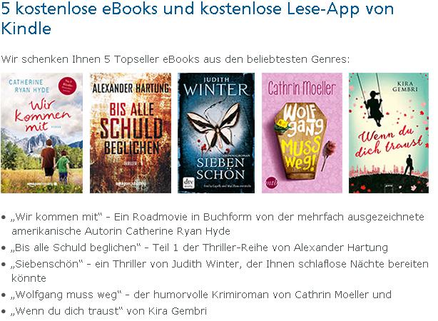 [O2more] 5 gratis Kindle-Bücher im Silber Status