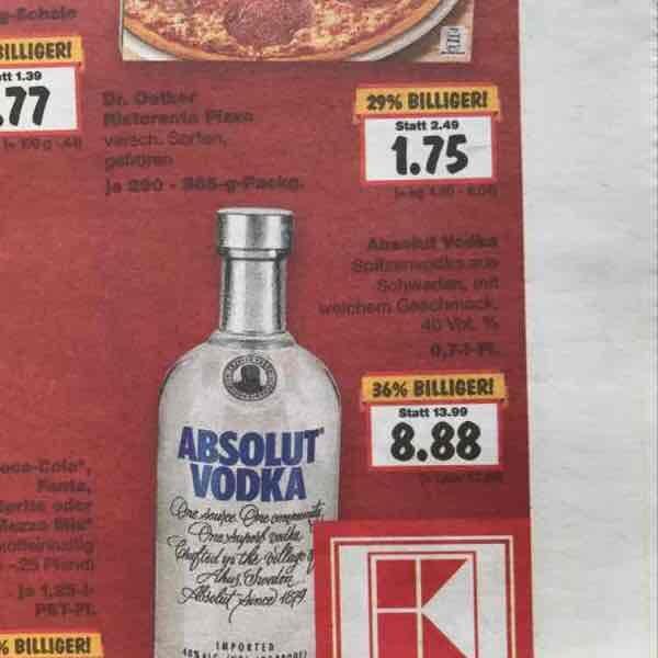[Lokal Kaufland] Absolut Vodka für 8,88 Raum Göttingen