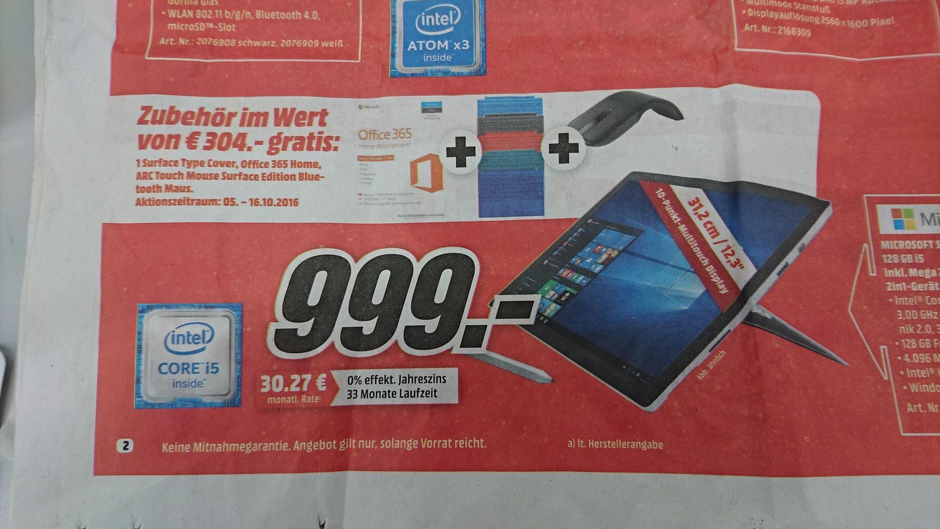 [Lokal MM München] Surface Pro 4 (I5-6300U, 4GB, 128GB) inklusive Zubehör