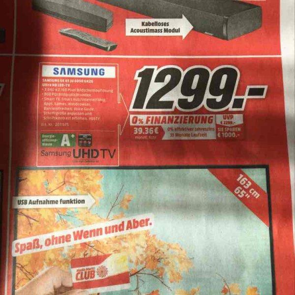 [lokal Bad Kreuznach MediaMarkt] Samsung UE65JU6050 UHD TV