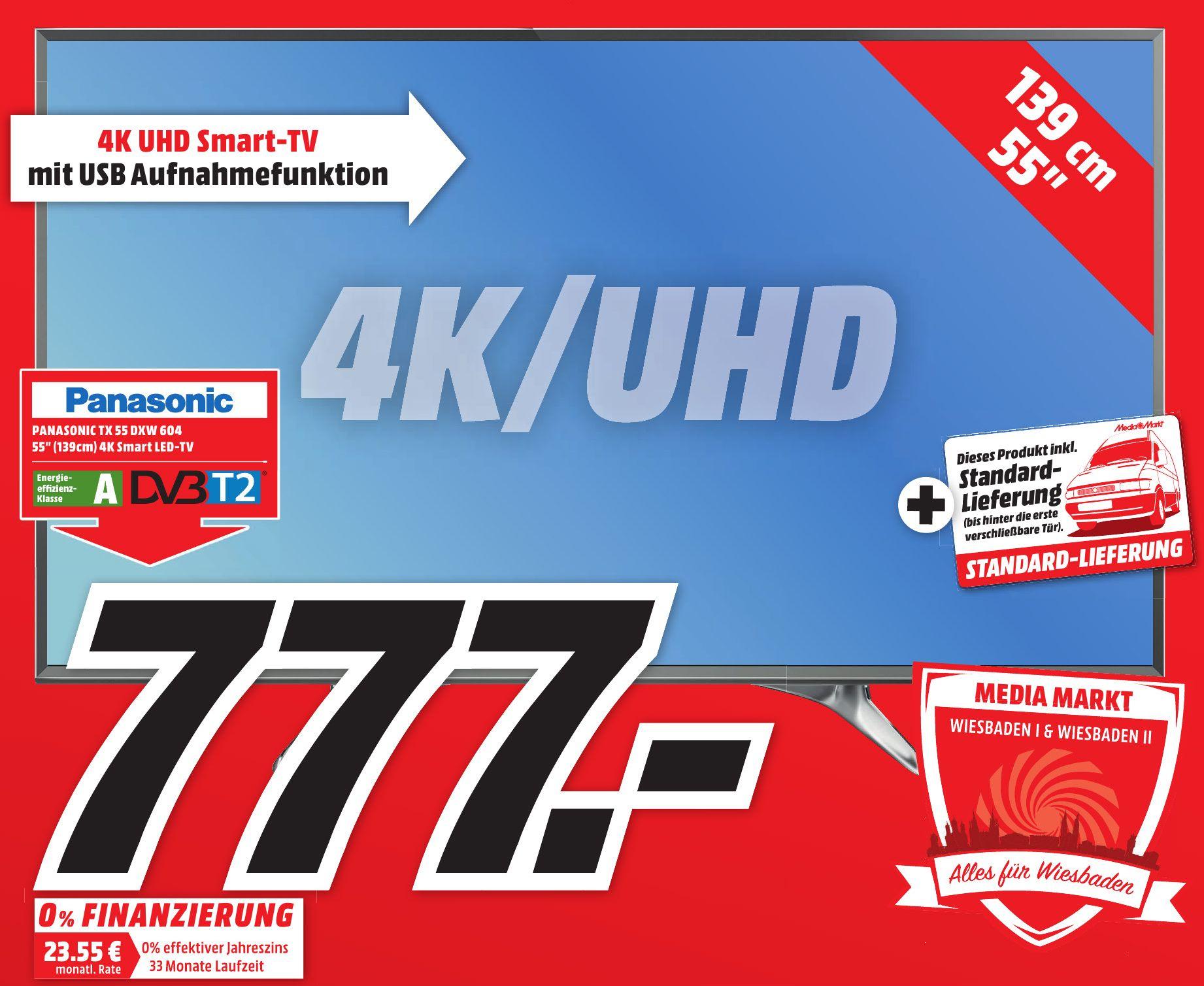 [lokal] Mediamarkt Wiesbaden: UHD TV Panasonic TX-55DXW604 inkl. Lieferung für 777,-