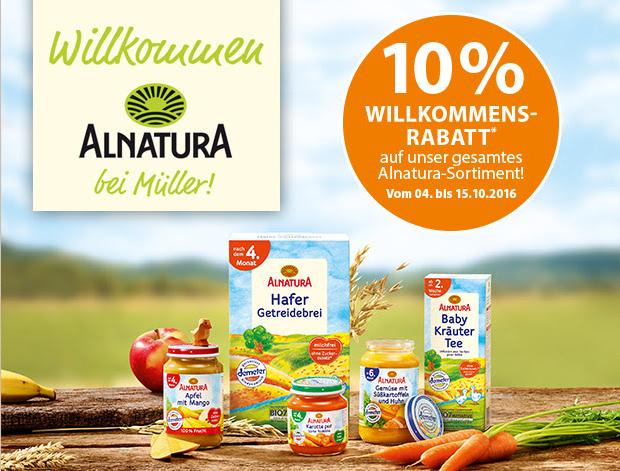 [Müller] 10 % Willkommensrabatt auf das Alnatura-Angebot – bis 15.10.2016