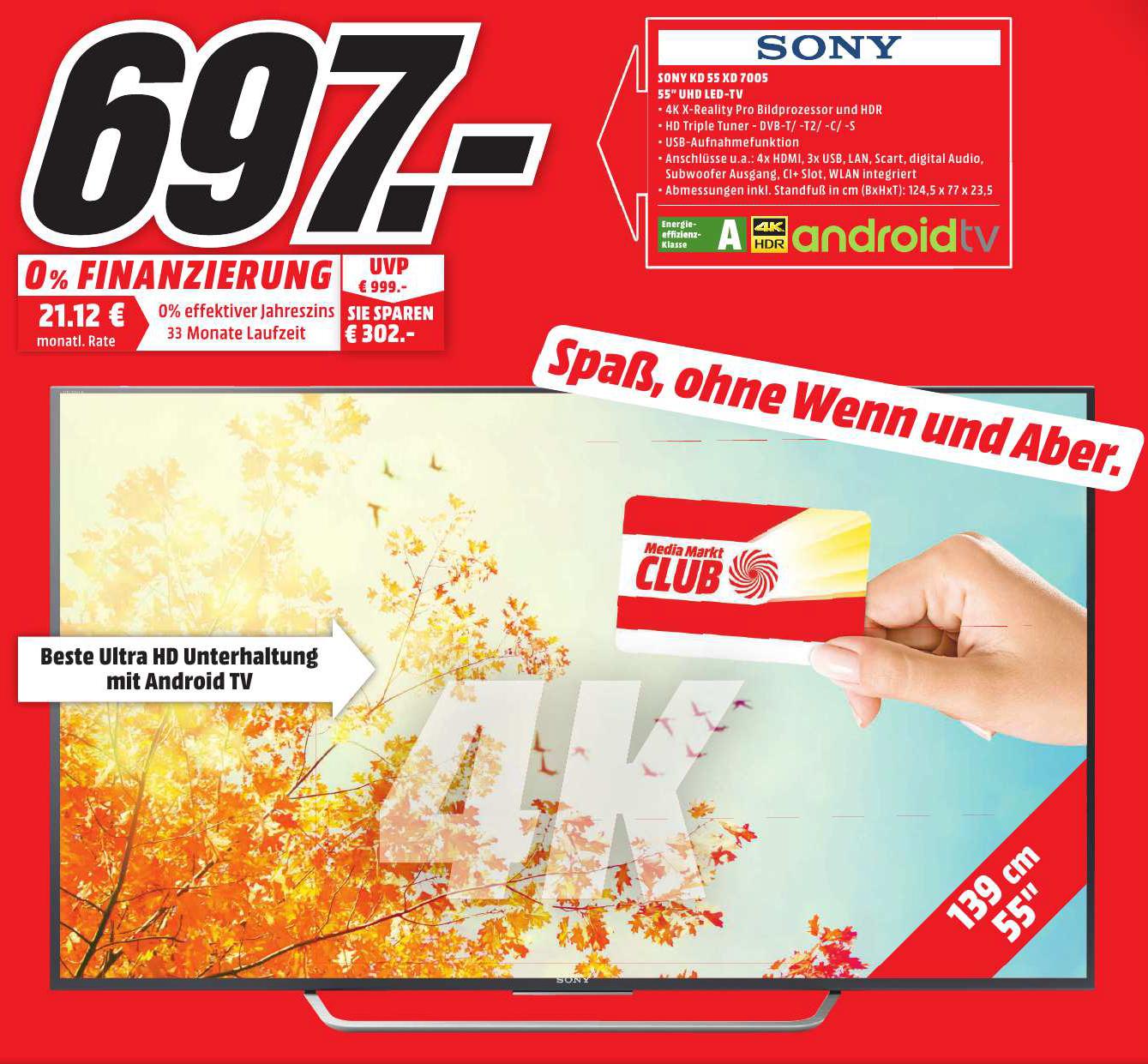"[lokal] Media Markt Schwentinental - Sony KD-55XD7005 für 697€ - 55"" UHD TV"