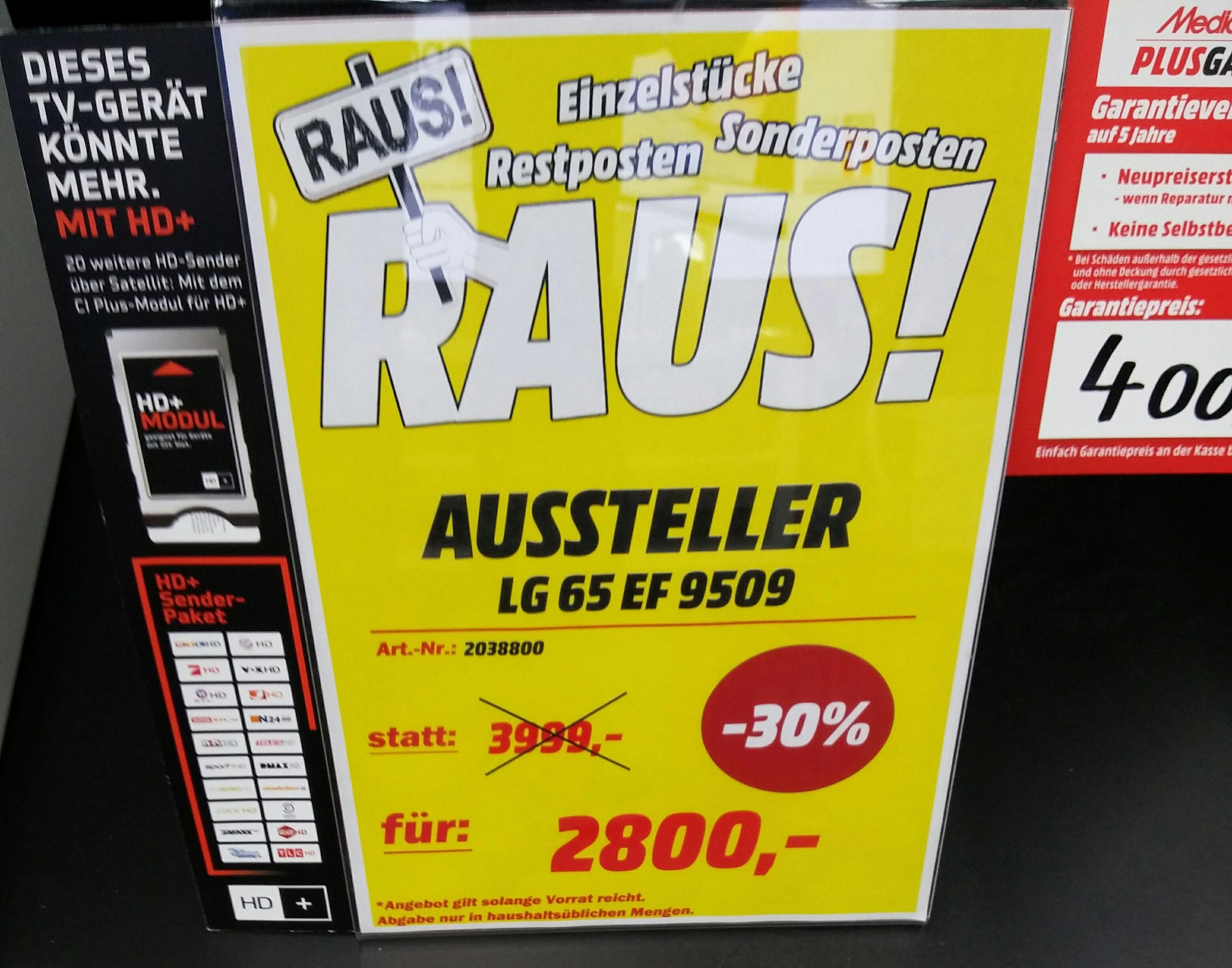 Mediamarkt Riesa (Lokal) LG 65EF9509 Aussteller